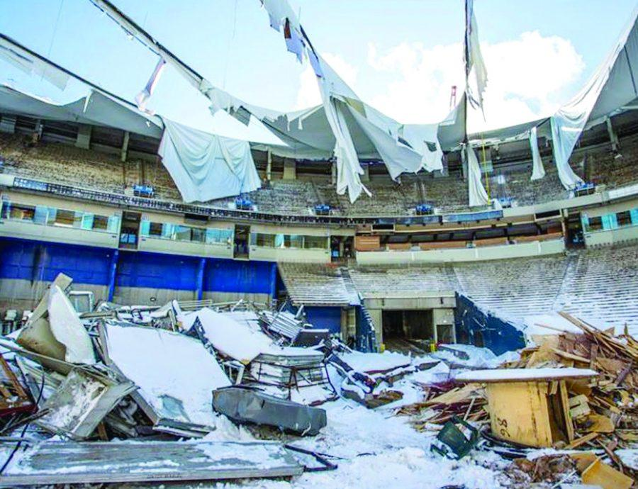 Photo of inside the deconstruction of the Metrodome