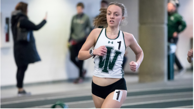 Senior Katie North leads the CCIW in the women's 5000 meter run by over 20 seconds.  Photo: Illinois Wesleyan University