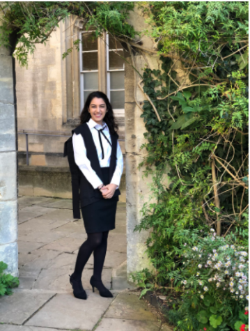 Here I am pictured in my 'subfusc' which is Oxford speak for the traditional black and white uniform worn for special occasions, formal hall and exams.   Photo Courtesy of Samira Kassem