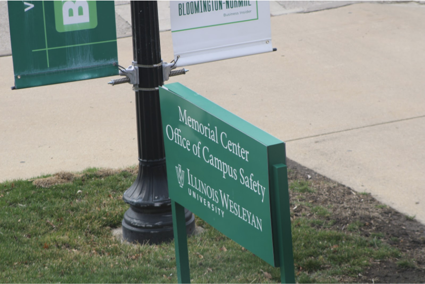 A university-sponsored sign located outside of Memorial Center and the Office of Campus Safety.  Photo: Samira Kassem