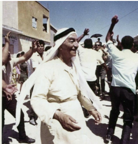 My great grandfather dances at a Palestinan celebration in my father's hometown of Umm El Fahem.  Photo Courtesy of Samira Kassem