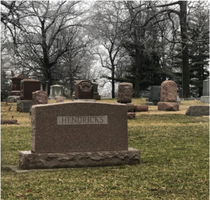 The Hendricks' grave can be found at Evergreen Memorial Cemetery a few miles south of  IWU.  Photo: Samira Kassem