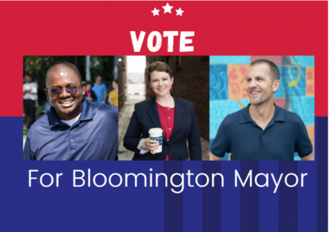 The candidates for mayor of Bloomington (from L to R) Mboka Mwilambwe, Jackie Gunderson and Mike Straza.  Illustration: Samira Kassem