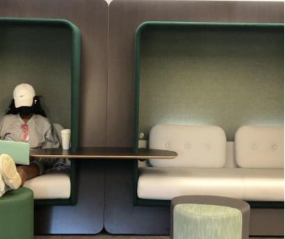 """A student studies in the new """"nook"""" located in the back of the first floor of Ames Library. Photo: Ames Library"""