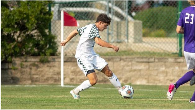 Photo credit: IWU Sports (Pictured: Sophomore Gavin Smith shoots and scores in the second half)