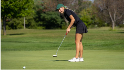 Photo credit: IWU Sports (Pictured: Sophomore Lexie Onsrud taking first place and CCIW accolades at Dechert Classic)